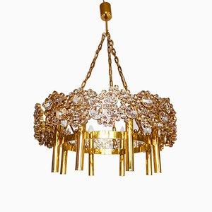 Lámpara de araña alemana grande de latón dorado y cristal de Palwa, años 60