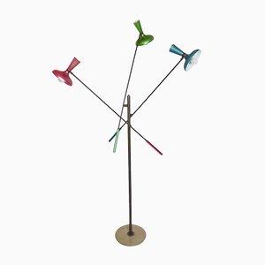 Lámpara de pie italiana modernista multicolor de Arredoluce, años 50