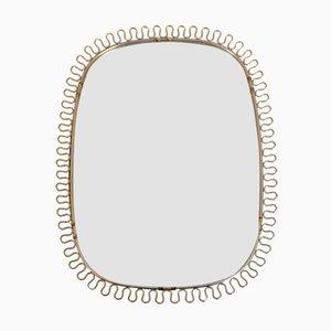 Specchio con cornice in ottone di Josef Frank per Svenskt Tenn, anni '50