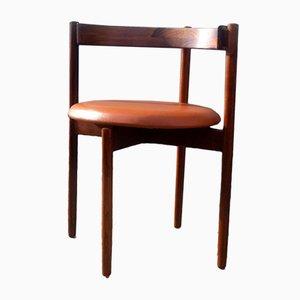 Dänischer Armlehnstuhl aus Palisander & Braunem Leder von Hugo Frandsen für Børge M. Søndergaard, 1960er