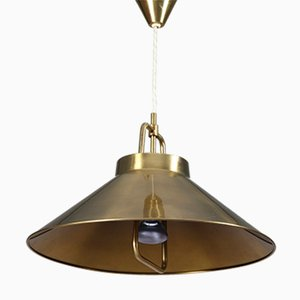 Height Adjustable P 295 Brass Pendant by Frits Schlegel for Lyfa, 1960s