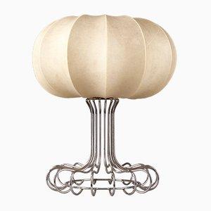 Lampada da tavolo con base in metallo cromato di Achille Castiglioni, anni '70