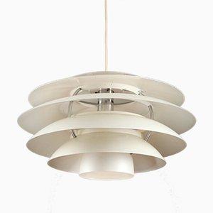 Lampada a sospensione in alluminio bianco di Stilnovo, anni '60