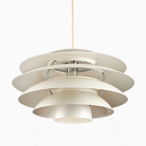 White Aluminum Suspension Light from Stilnovo, 1960s