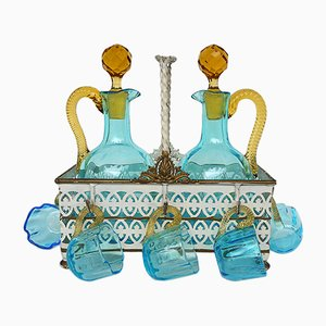 Antique French Hand Blown Glass Liqueur Cabaret Service from LeGras, 1890s