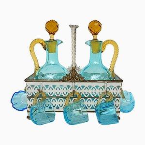 Servicio de licor de cabaret francés antiguo de vidrio soplado de LeGras, década de 1890