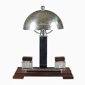 Art Deco Schreibtischlampe mit Tintenfässern, 1930