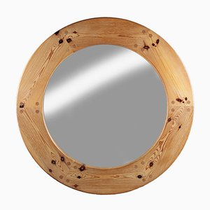 1960s Large Swedish Mirror in Pine