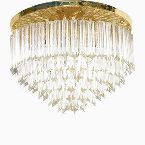 Italian Six-Tiered Flush Mount Ceiling Chandelier from Venini, 1970s