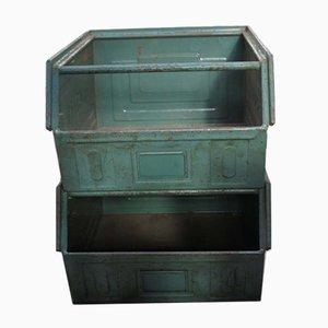 Industrielle Stapelbare Vintage Fächer aus Metall von Schäfer, 1960er, 2er Set