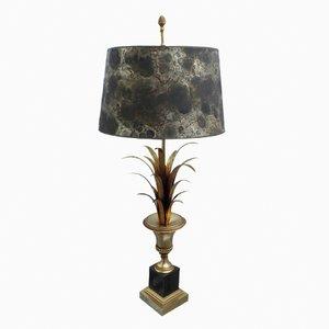 Lámpara de mesa francesa vintage con forma de palmera dorada y pantalla de papel veteado