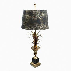 Vintage French Gilded Palm Leaf Table Lamp with Marbled Paper Shade