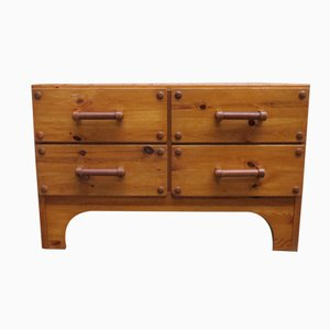 Swedish Pine Sideboard with Leather Handles from Fröseke, 1970s