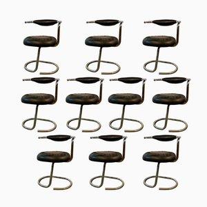 Chrom & Moleskin Stühle von Giotto Stoppino, 1970, 10er Set