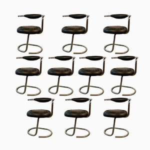 Chrome & Moleskin Chairs by Giotto Stoppino, 1970, Set of 10