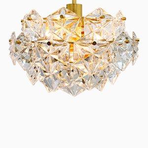 Lampadario a quattro livelli in cristallo e placcato in oro di Kinkeldey, anni '60