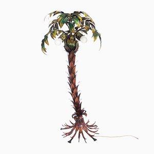 Lámpara de pie alemana Hollywood Regency de metal policromo con forma de palmera de Hans Kögl, años 70