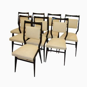Italian Dining Chairs by Osvaldo Borsani, 1940s, Set of 8