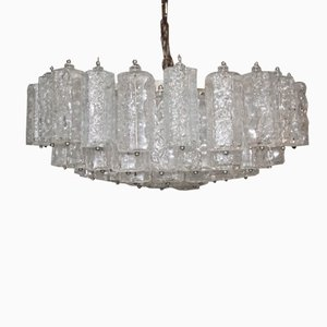 Large Italian Murano Art Glass Chandelier from Venini, 1960