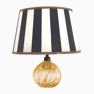 Murano Glass Swirl Table Lamp with Gold Flecks by Venini, 1950s