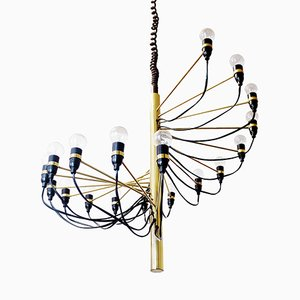 Spiral Brass Chandelier by Gino Sarfatti for Arteluce, 1958