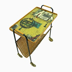 Vintage Metal & Rattan Serving Trolley, 1950s