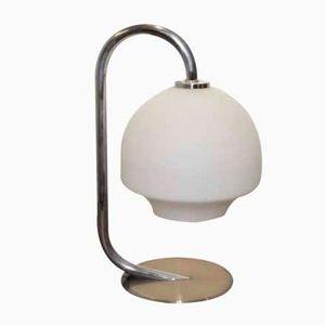 Lampe de Bureau Vintage en Chrome et en Verre Blanc, 1970s