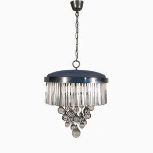 Lámpara de araña italiana de metal y vidrio de Sciolari, años 60
