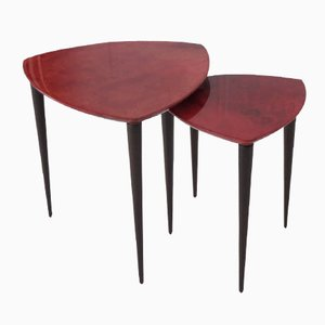 Italian Red Goatskin Nesting Tables by Aldo Tura for Tura Milano, 1950s
