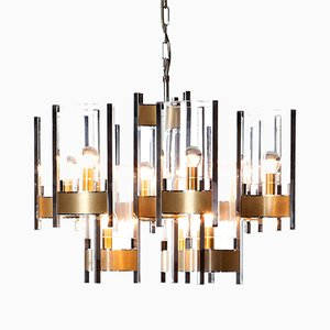 9 Light Chrome and Glass Chandelier by Gaetano Sciolari, 1960s