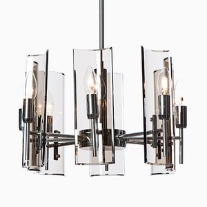 8 Light Chrome and Glass Chandelier Light by Crystal Arte, 1950s