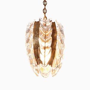 Lámpara colgante de latón dorado y vidrio de Palwa, años 60