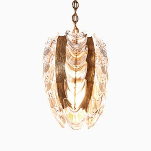 One Light Gilt Brass and Glass Pendant from Palwa, 1960s