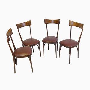 Italienische Mid-Century Mahagoni Esszimmerstühle, 4er Set
