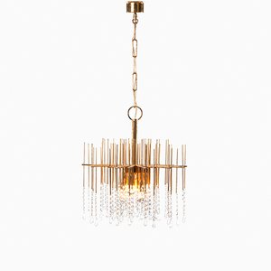 Six Light Gilt Brass and Crystal Chandelier Light, 1960s