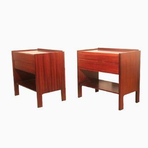 Italian Minimalist Rosewood Bedside Tables by Claudio Salocchi for Luigi Sormani, 1960s, Set of 2