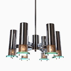 Lámpara de araña vintage de metal cromado con seis luces, años 60