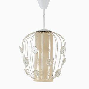 Schwedische Deckenlampe aus Glas & Lackiertem Metall, 1950er