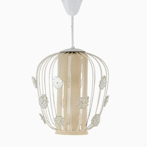 Swedish Ceiling Light in Glass & Lacquered Metal, 1950s