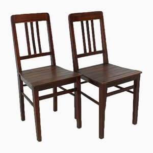 Vintage Wooden Chairs, 1920s, Set of 2