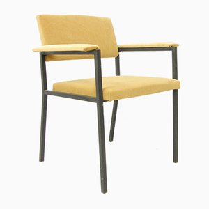 Fauteuil Easy Chair Moutarde en Velours, Italie, 1960s