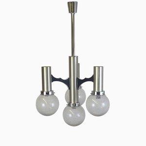 Lámpara de araña de aluminio y vidrio de Gaetano Sciolari, años 70