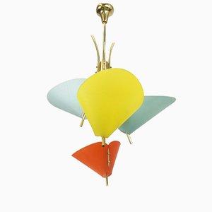 Lámpara de araña Mid-Century con conos multicolor
