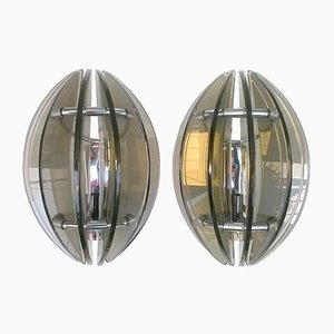 Italian Glass and Chromed Steel Wall Sconces from Veca, 1960s, Set of 2
