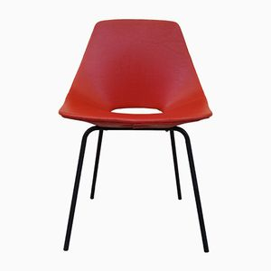 Red Model Tonneau Chair by Pierre Guariche for Steiner, 1950s