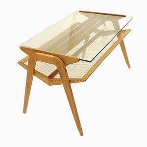 Tavolino da caffè grande in legno con rete, Repubblica Ceca, anni '50