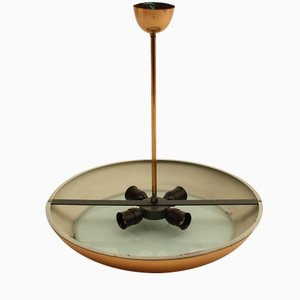 Czech Bauhaus Copper Colored Ceiling Light by Josef Hurka for Napako, 1930s