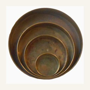 Danish Modern Brass Trays from Dacia, 1960s, Set of 4