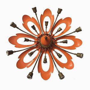 Italienische Mid-Century Deckenlampe in Orange von Angelo Lelli für Arredoluce