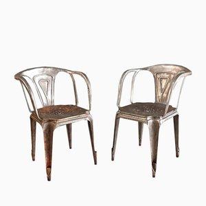 Vintage Metall Stühle von Joseph Mathieu für Multipl's, 2er Set